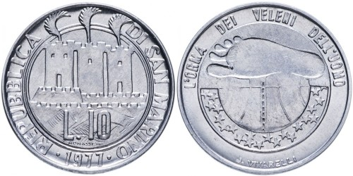 10 лир 1977 Сан-Марино — Экология UNC