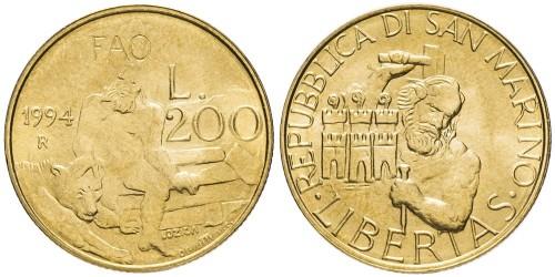 200 лир 1994 Сан-Марино UNC