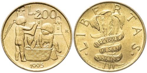 200 лир 1995 Сан-Марино UNC