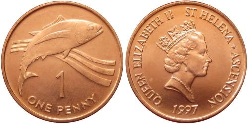 1 пенни 1997 остров Святой Елены