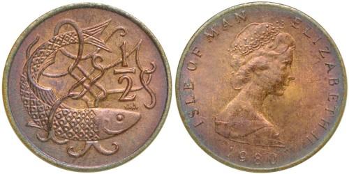 ½ пенни 1980 остров Мэн — Отметка «AА» на реверсе