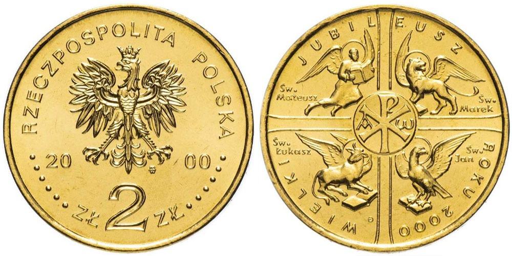 2 злотых 2000 Польша — Великий Юбилей 2000 года