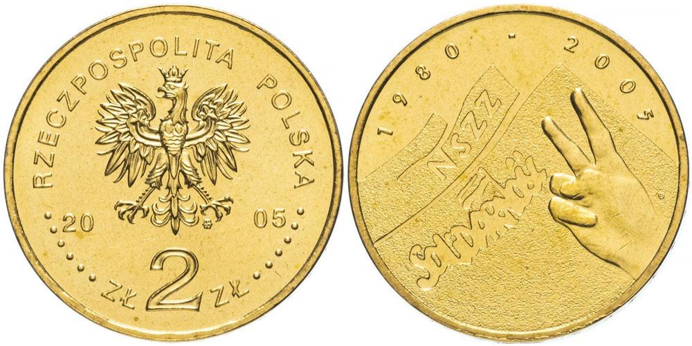 2 злотых 2005 Польша — 25 лет независимому самоуправляемому профсоюзу «Солидарность»