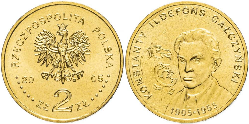 2 злотых 2005 Польша — 100 лет со дня рождения Константы Ильдефонса Галчиньского