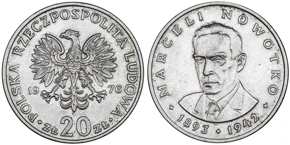 20 злотых 1976 Польша — Марсель Новотко (1893 — 1942) — без знака монетного двора