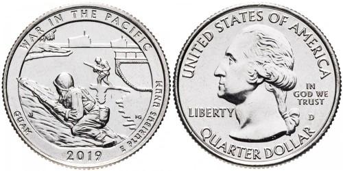 25 центов 2019 D США — Национальный исторический парк Войны в Тихом океане Гуам — Guam UNC