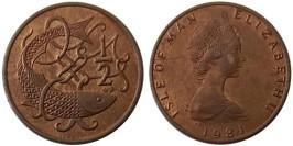 ½ пенни 1981 остров Мэн — Отметка «AВ» на реверсе