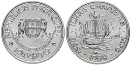 100 эскудо 1989 Португалия — Золотой век открытий — Открытие Канарских островов