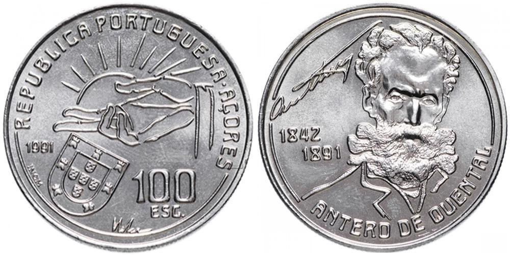 100 эскудо 1991 Азорские острова — 100 лет со дня смерти Антеру де Кентал
