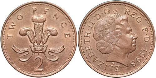 2 пенса 1998 Великобритания — магнитная