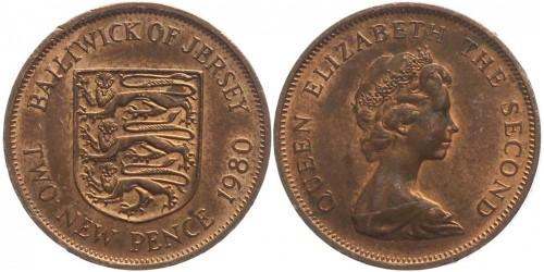 2 новых пенса 1980 остров Джерси