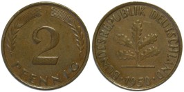 2 пфеннига 1950 «J» ФРГ