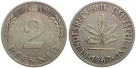 2 пфеннига 1969 «D» ФРГ