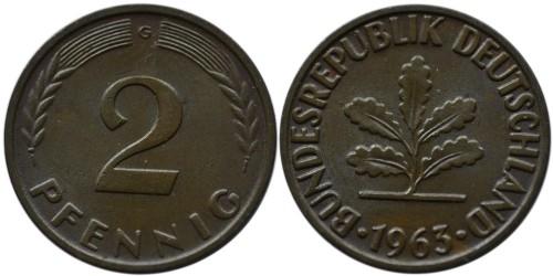 2 пфеннига 1963 «G» ФРГ