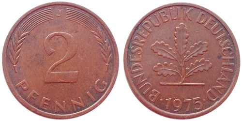 2 пфеннига 1975 «J» ФРГ