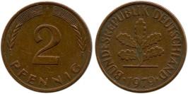 2 пфеннига 1979 «F» ФРГ