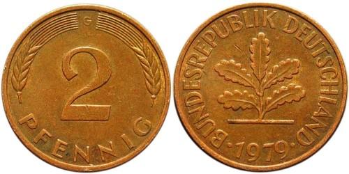 2 пфеннига 1979 «G» ФРГ