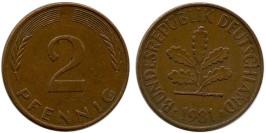 2 пфеннига 1981 «J» ФРГ