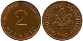 2 пфеннига 1984 «F» ФРГ