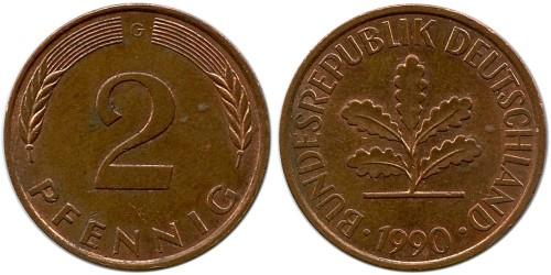 2 пфеннига 1990 «G» Германия