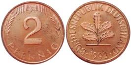 2 пфеннига 1993 «F» Германия