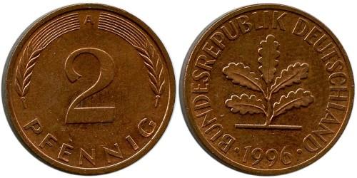 2 пфеннига 1996 «А» ФРГ