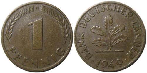 1 пфенниг 1949 «D» ФРГ