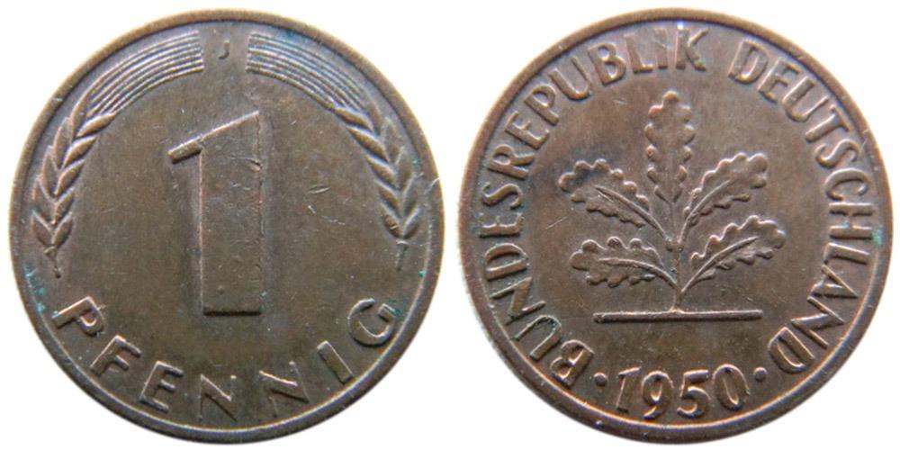1 пфенниг 1950 «J» ФРГ