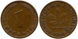 1 пфенниг 1966 «F» ФРГ