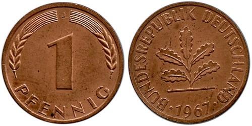 1 пфенниг 1967 «J» ФРГ