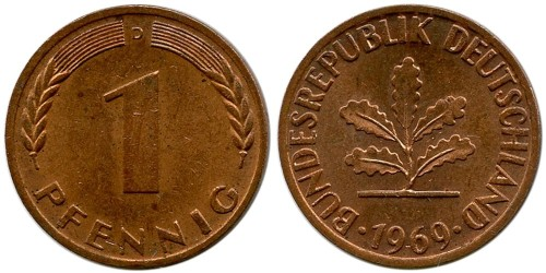 1 пфенниг 1969 «D» ФРГ