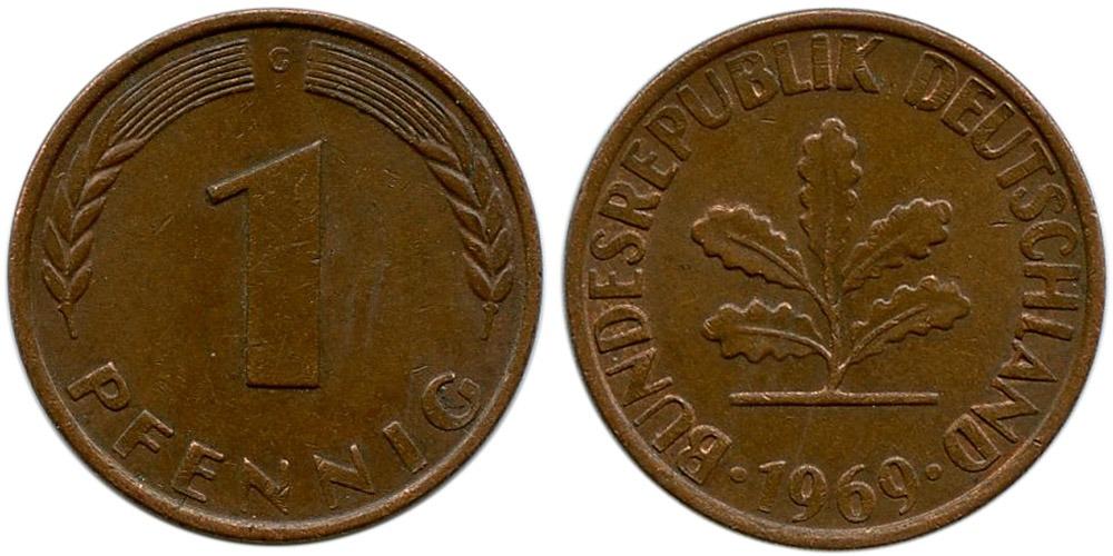 1 пфенниг 1969 «G» ФРГ