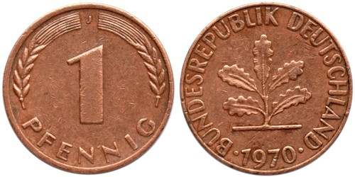 1 пфенниг 1970 «J» ФРГ