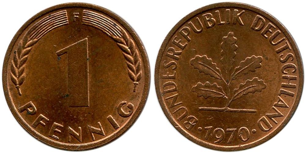 1 пфенниг 1970 «F» ФРГ
