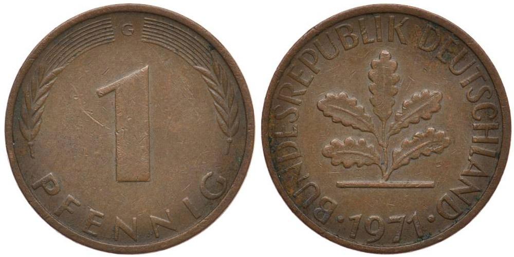 1 пфенниг 1971 «G» ФРГ