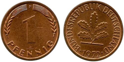 1 пфенниг 1972 «F» ФРГ