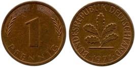 1 пфенниг 1974 «J» ФРГ
