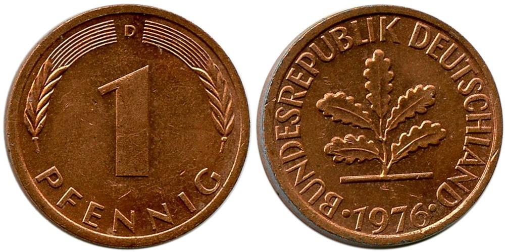 1 пфенниг 1976 «D» ФРГ