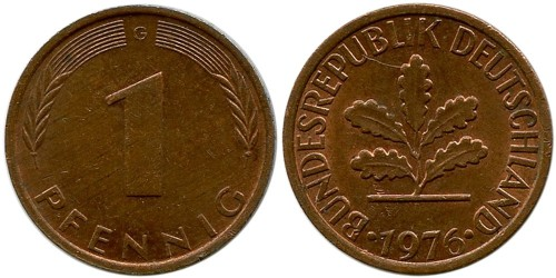 1 пфенниг 1976 «G» ФРГ