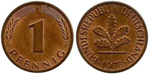 1 пфенниг 1978 «F» ФРГ