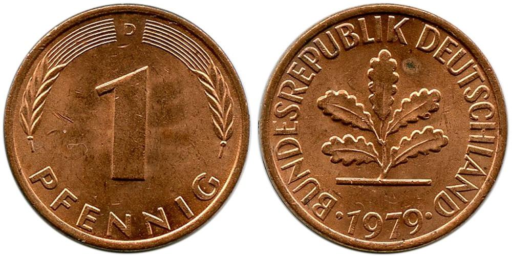 1 пфенниг 1979 «D» ФРГ