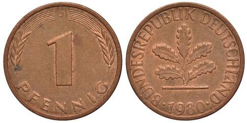 1 пфенниг 1980 «J» ФРГ
