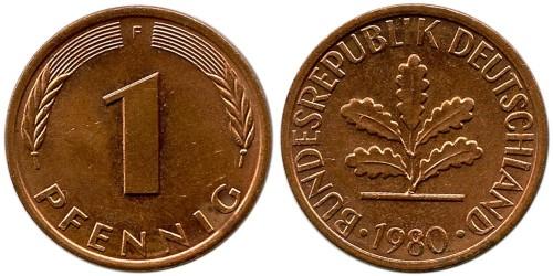 1 пфенниг 1980 «F» ФРГ