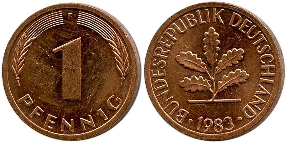 1 пфенниг 1983 «F» ФРГ
