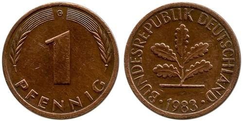1 пфенниг 1983 «G» ФРГ