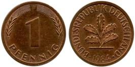 1 пфенниг 1984 «F» ФРГ
