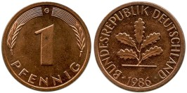 1 пфенниг 1986 «G» ФРГ