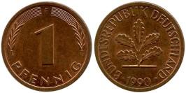 1 пфенниг 1990 «F» ФРГ