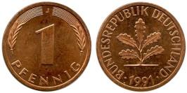 1 пфенниг 1991 «J» Германия