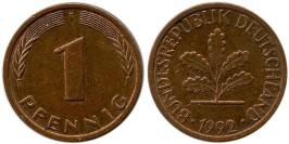 1 пфенниг 1992 «F» ФРГ